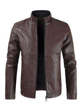 Stand Collar Plain Zipper Men's Fashion Leather Jacket