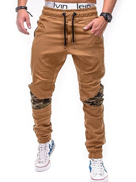 Camouflage Patchwork Lace-Up Men's Casual Pants