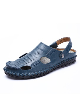 Plain Slip-On Hollow Men's Sandals