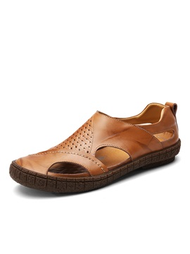 Plain Hollow Slip-On Men's Sandals