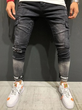 Black Gradient Skinny Men's Ripped Jeans