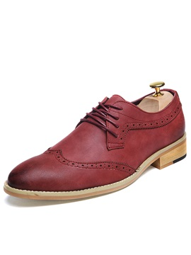 Plain Lace-Up Round Toe Men's Dress Shoes