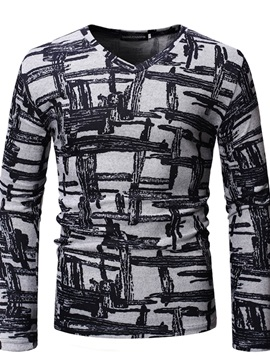 V-Neck Print Casual Long Sleeve Men's T-shirt