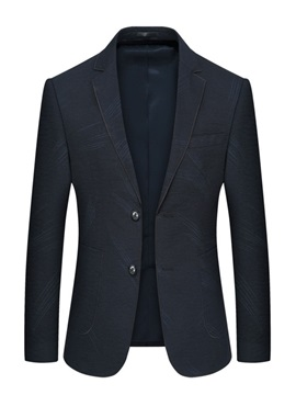 Notched Lapel Plain Single-Breasted Casual Men's Blazer