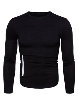 Plain Round Neck Casual Long Sleeve Men's T-shirt