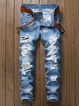 Worn Hole Plain Zipper Men's Ripped Jeans