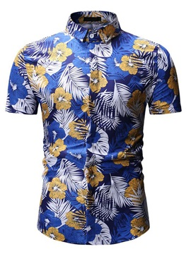 Floral Print Lapel Short Sleeve Men's Shirt