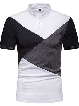 Patchwork Color Block Stand Collar Casual Men's Polo Shirt