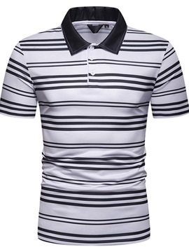 Lapel Stripe Casual Men's Polo Shirt