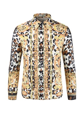 Color Block Print Lapel Leopard Men's Shirt