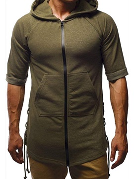 Casual Plain Hooded Zipper Short Sleeve Men's T-shirt
