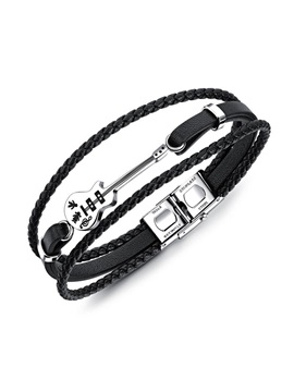 Black Vintage Multi-Layer Woven PU Mini Guitar Men's Bracelet
