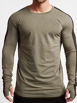 Color Block Patchwork Long Sleeve Men's T-shirt