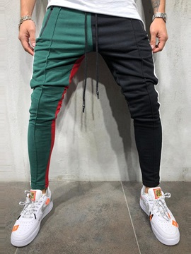 Sports Lace-Up Color Block Patchwork Men's Casual Pants