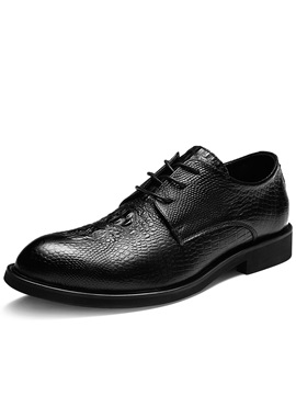 Plain Round Toe Lace-Up Men's Dress Shoes