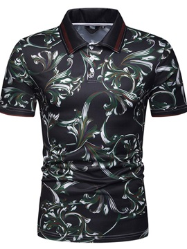 Floral Print Casual Men's Polo