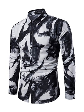 Paint Splatters Lapel Single-Breasted Men's Shirt