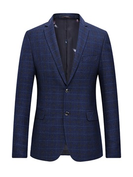 Plain Notched Lapel Plaid Two Buttons Men's Blazer