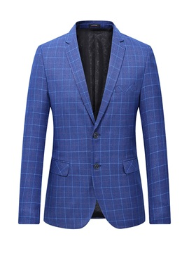 Single-Breasted Plaid Slim Notched Lapel Men's Blazer