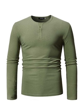 Plain Casual Long Sleeve Round Neck Men's T-shirt