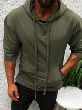 Plain Hooded Lace-Up Pocket Men's Pullover Hoodie