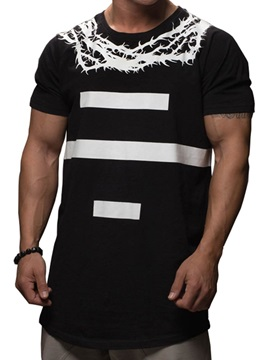 Geometric Number Print Loose Men's T-shirt
