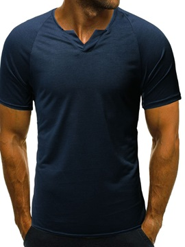 Plain Slim Short Sleeve Men's T-shirt