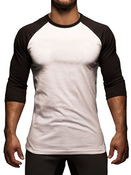 Round Neck Casual Color Block Men's T-Shirt