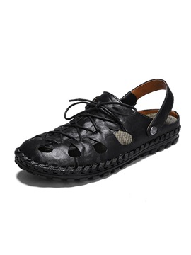 Simple Low-Cut Upper Plain Lace-Up Men's Sandals