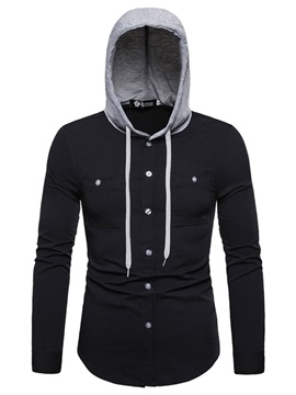 Hooded Color Block Button Men's Shirt