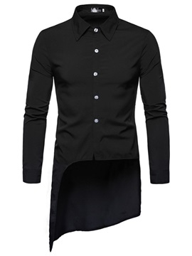 Asymmetric Lapel Plain Button Slim Men's Shirt