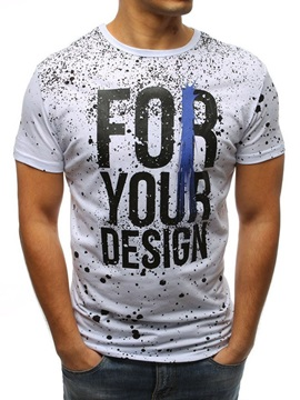 Letter Print Splash Ink Short Sleeve Men's T-Shirt