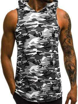 Camouflage Print Hooded Slim Men's Summer Vest
