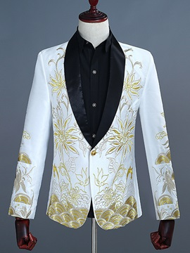 Fashion Embroidery One Button Slim Men's Dress Blazer