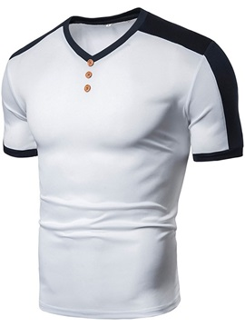 Casual Color Block V-Neck Short Sleeve Men's T-shirt