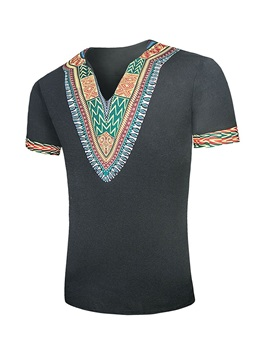 Dashiki Print Color Block Men's T-Shirt