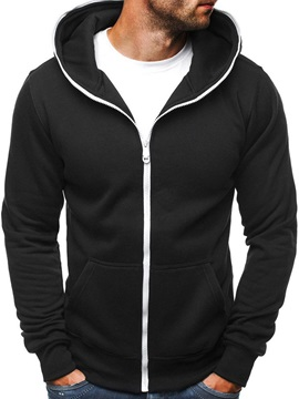 Hooded Plain Pocket Cardigan Men's Zipper Hoodie