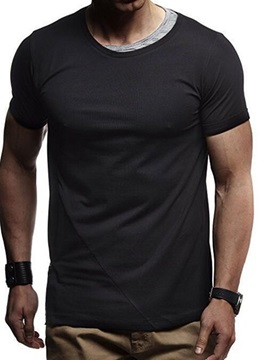Round Neck Casual Color Block Zipper Men's T-Shirt