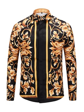 Luxurious Floral Print Lapel Men's Shirt