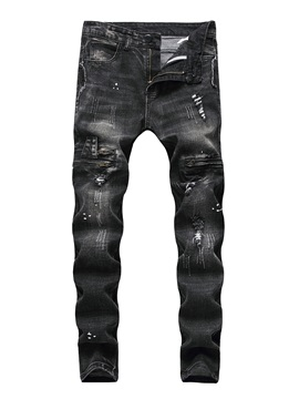Worn Hole Plain Men's Ripped Jeans