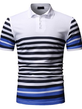 Color Block Stripe Button Men's Polo