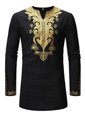 V-Neck Dashiki Print Long Sleeve Men's Shirt