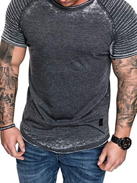 Pleated Worn Slim Fit Men's T-Shirt