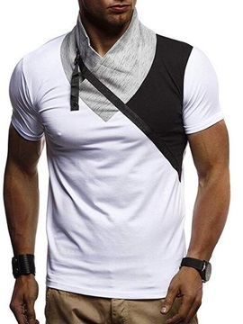 Color Block Patchwork Casual Men's T-Shirt