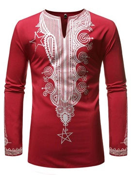 V-Neck Dashiki Print Casual Slim Men's Shirt