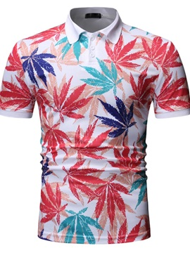 Color Block Plant Print Men's Polo