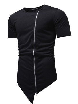 Round Neck Plain Zipper Patchwork Men's T-Shirt
