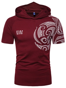 Hooded Letter Print Casual Short Sleeve Men's T-Shirt
