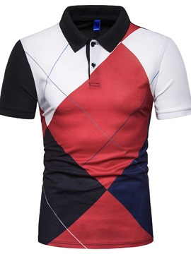Button Color Block Patchwork Men's Polo