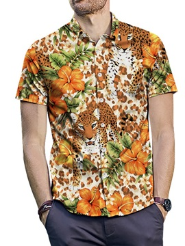 Color Block Animal Floral Print Loose Men's Shirt